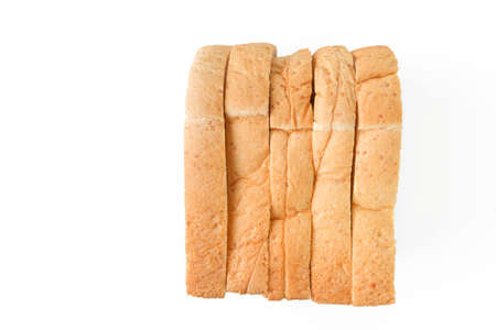 sliced bread: row of sliced bread on white background Stock Photo