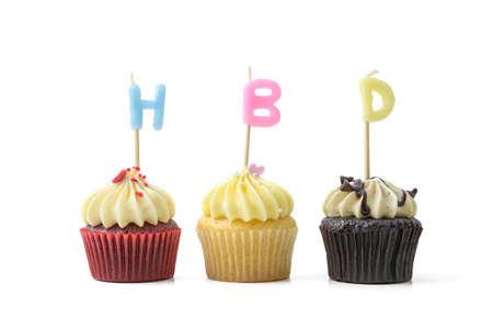 velitas de cumpleaños: cumpleaños cupcake  Foto de archivo