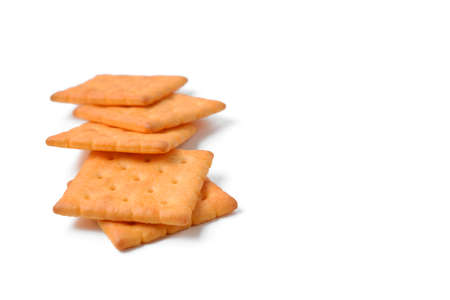 french culture: butter cracker on white background Stock Photo