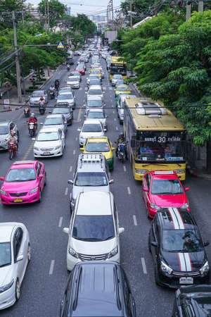 Bangkok Thailand - Augus 2, 2016 : Traffic at Samsen Road in Bangkok Thailand
