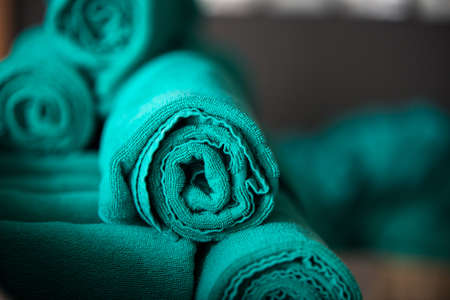 absorbent: roll green of bath towel Stock Photo