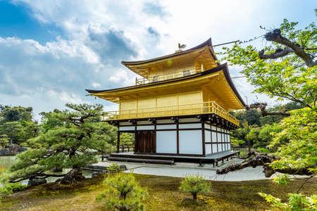 rokuonji: Architecture at Kinkakuji Temple (The Golden Pavilion) in Kyoto, Japan