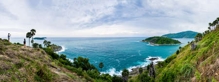 Laem Phrom Thep in Phuket south of Thailand with tourists are taking photos