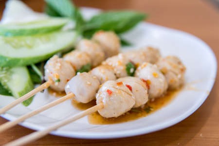 grill: Grilled pork meatball Thai style