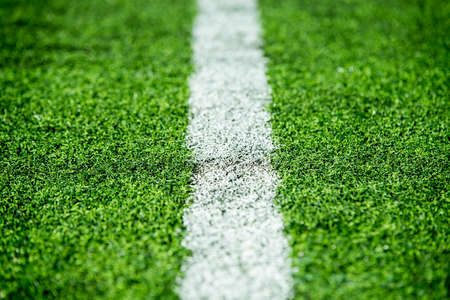 white stripe on soccer field Stock Photo