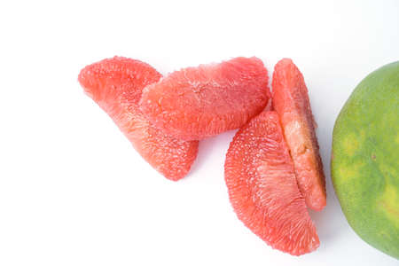 red pomelo pulp fruit isolated on white background
