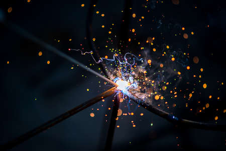 electric sparklers of steel welding