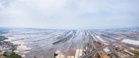 Aerial view panorama of Salt farming in Samutsakhon province, Thailand. Stok Fotoğraf