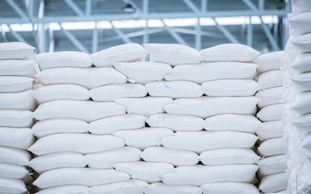stack of white bag in the warehouse