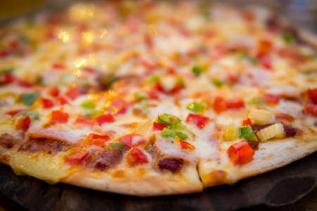 fresh sliced pizza with vegetables