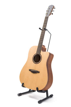acoustic guitar with stand isolated on white background Stok Fotoğraf