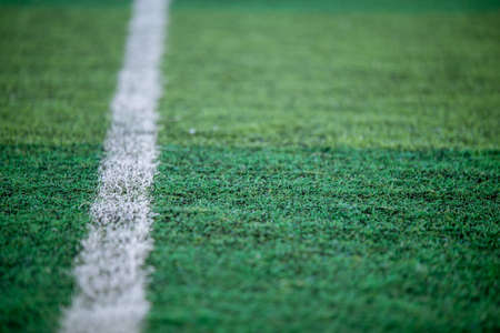 Football field with white line