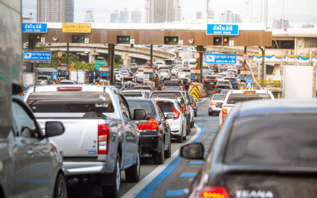 Bangkok, Thailand - August 09, 2019: View of traffic jam at expressway toll gate in Bangkok, Thailand