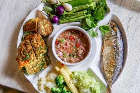 Shrimp paste sauce with fried mackerel and vegetable. Thai food Stok Fotoğraf