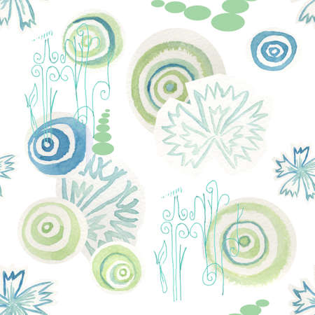 Seamless pattern with circles and cornflowers on white background  photo