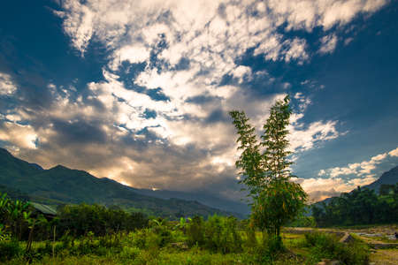 sapa: Sunset in Sapa. Editorial