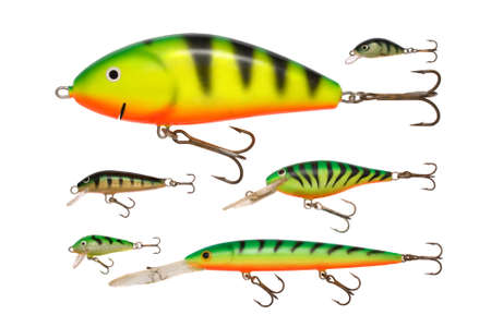 diferent kinds of perch colored fishing baits photo