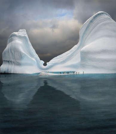 iceberg with penguins looks like swimming pool Stock Photo - 2481518