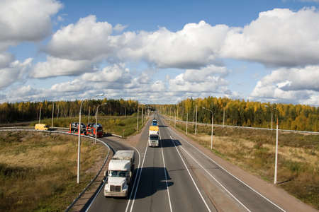 antrey: highway Scandinavia, autumn Stock Photo