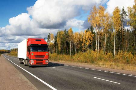antrey: red truck on highway