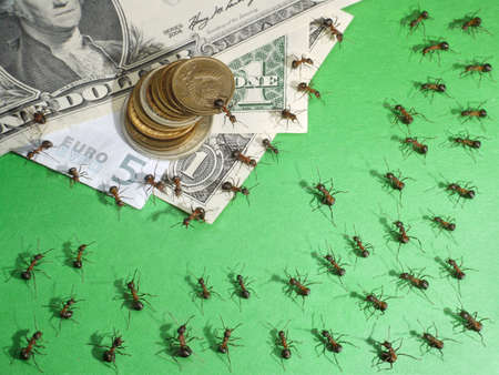 oligarchy: Financial crisis. Ants theatre plays people for non-editorial use