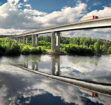 truck on bridge, landscape