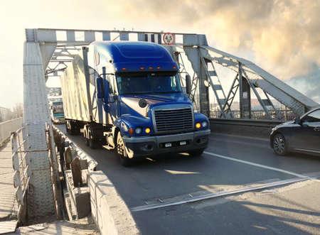 heavy truck on industrial bridge