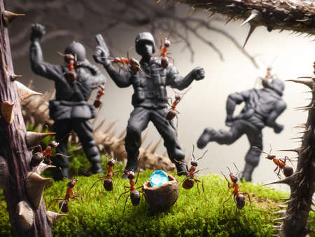 finish to tomb raiders, ant tales. ants pinch toy soldiers