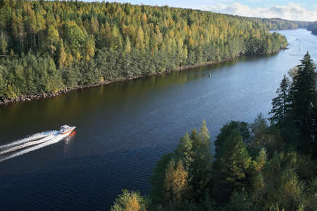 launch on move, traffic in Saima channel, Baltic sea