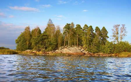 little rock island and  calm waves in Baltic sea, Vyborg bay
