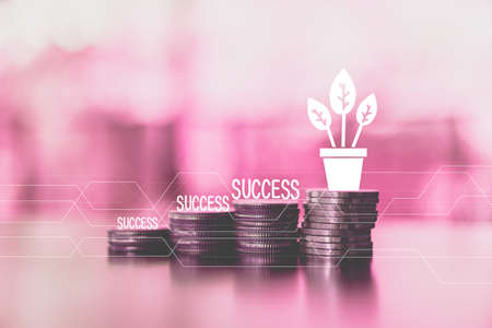 Business financial success concept with currency icon and success and graph double expose on picture.