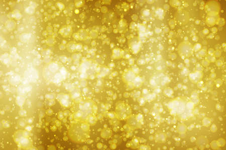Abstraktes buntes Bokeh und leuchtende funkelnde glänzende Partikel in zufälligem Goldfarbthemahintergrund. Lichteffekte des Blitzes. Unscharfer Vektorhintergrund mit hellem Glanz, Illustration EPS10. Vektorgrafik