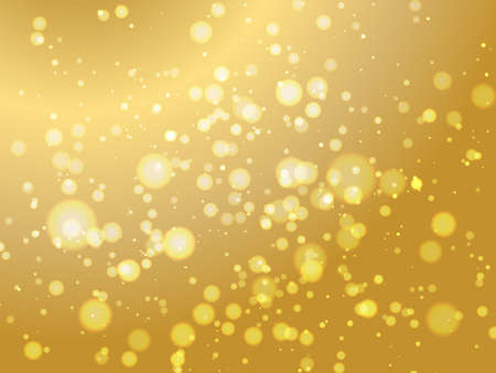 Abstract colorful bokeh and glowing spakling shining particles in random gold color theme background. Lighting effects of flash. Blurred vector background with light glare, EPS10 illustration.