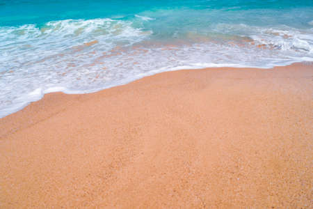 Tropical nature clean beach and white sand in summer with sun light blue sky and bokeh abstract  background. Фото со стока