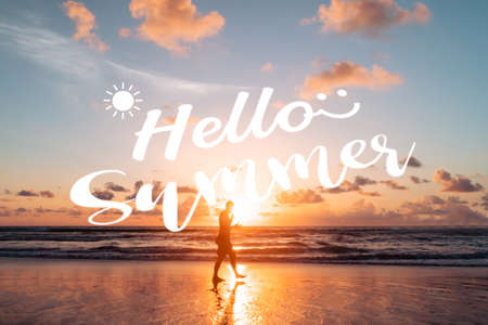 Hello summer qoute on summer time beach background. Holiday vacation time concept.