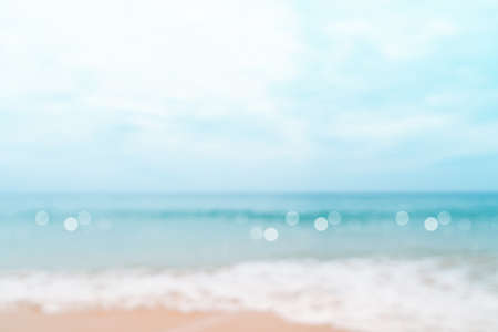 Blur tropical nature clean beach and white sand in summer with sun light blue sky and bokeh abstract  background. 免版税图像 - 154744289