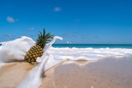 Pineapple on sand with sea water splash on blue sky summer concept background.