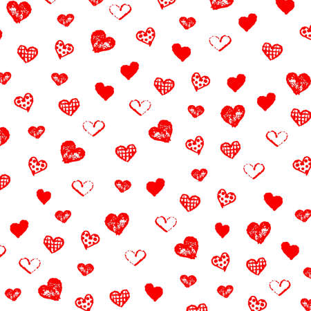Happy Valentines Day pattern graphic background with many types of  hand drawn red heart shapes.