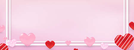 Valentine's day concept many heart on with copy space pink greeting card banner background.
