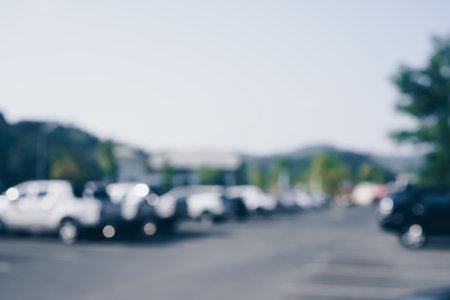 Blur car park with many cars abstract background. Vintage tone color. Reklamní fotografie