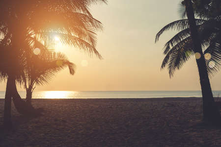 Tropical nature clean beach sunset sky time with sun light background.