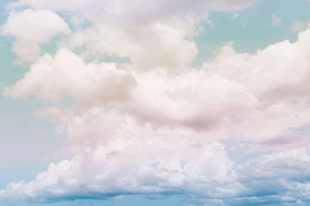 Copy space pastel tone minimal concept of summer blue sky and white cloud abstract blank background. Stock Photo