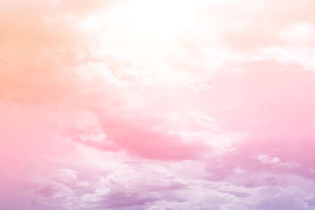 Copy space minimal concept of summer pastel sky and white cloud abstract blank background.