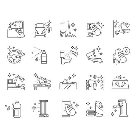 Surface disinfection icons set. Surface cleaning simple vector illustration.