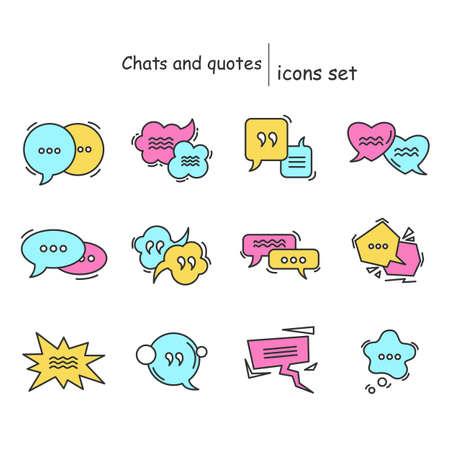 Dialogue boxes color icon set.Cartoon style speech bubbles purple, yellow and blue color.