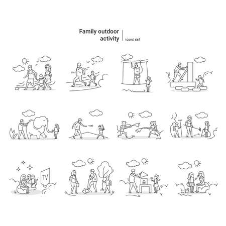 Family outdoor activity vector illustrations set. Vacation time sports, games and activities ideas