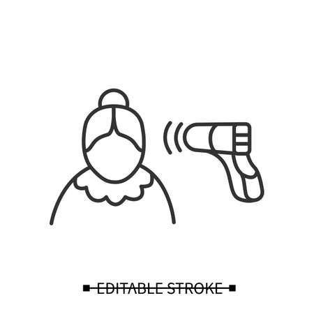 Senior woman temperature check icon. Heat measured with gun thermometer vector illustration Vektoros illusztráció