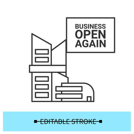 Business reopening icon. Office, mall or plasa building with open again message vector illustration 일러스트