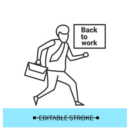 Going to work icon. Employee returning back in office simple vector illustration Stock Illustratie
