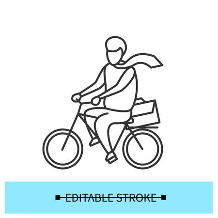 Bike to work icon. Man riding bicycle, commuting to office simple vector illustration